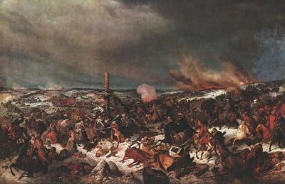 Η μάχη του Πρόισις Άιλαου το 1807, επίθεση του τάγματος της Μόσχας. Καλλιτέχνης Αλεξάντρ Αβεριάνοφ