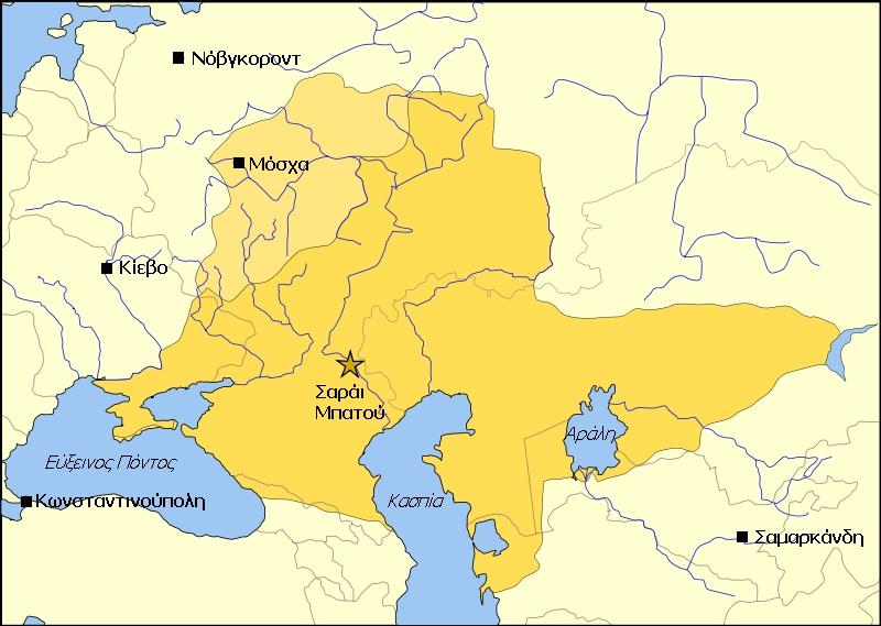 Η Χρυσή Ορδή το 1389. Με πιο ανοικτό χρώμα απεικονίζεται η Μοσχοβία