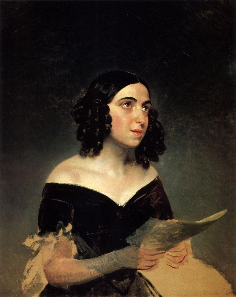 Брюллов К. Портрет жены, певицы А. Я. Петровой (1841 г.)