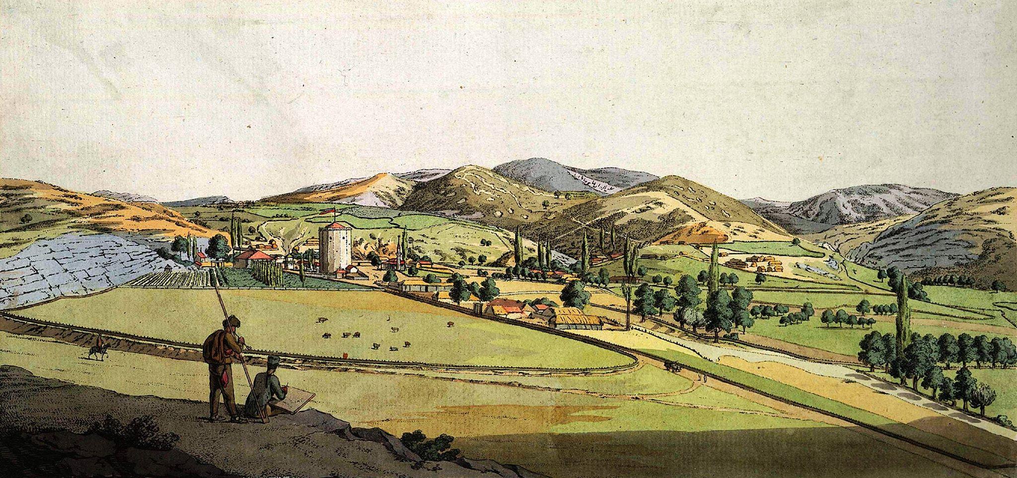 Христиан Гейслер. Чоргун. На рисунке изображена средневековая башня, слева от нее – дом имения Мавромихали в деревне Чоргун близ Балаклавы